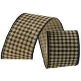 Black & Taupe Plaid Wired Edge Ribbon - 2 1/2""